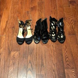 3 pairs of black strappy heels 37 Aldo H&M
